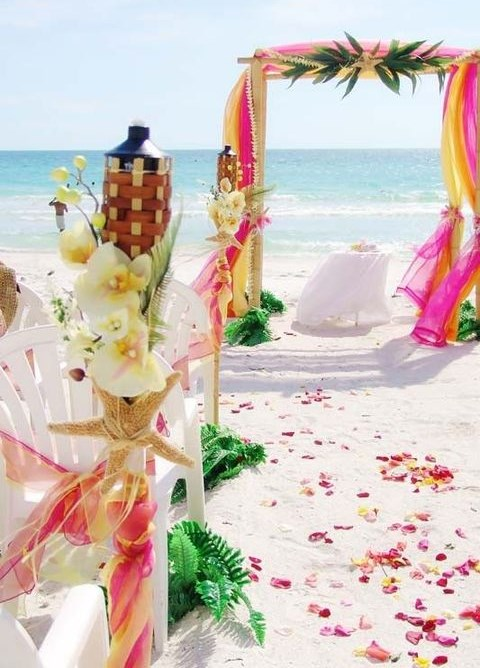 pink and white aisle decor