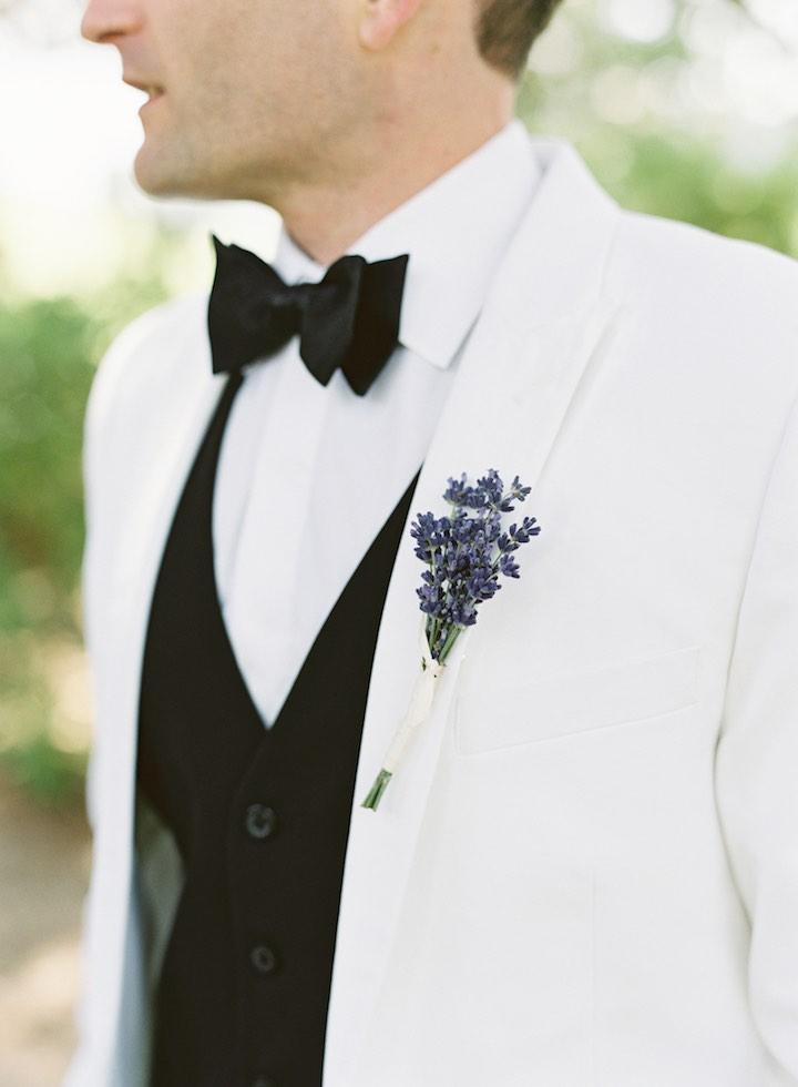 white simple groom's fashion