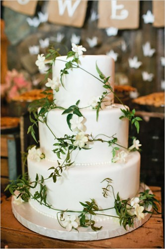 white greenery wedding cake