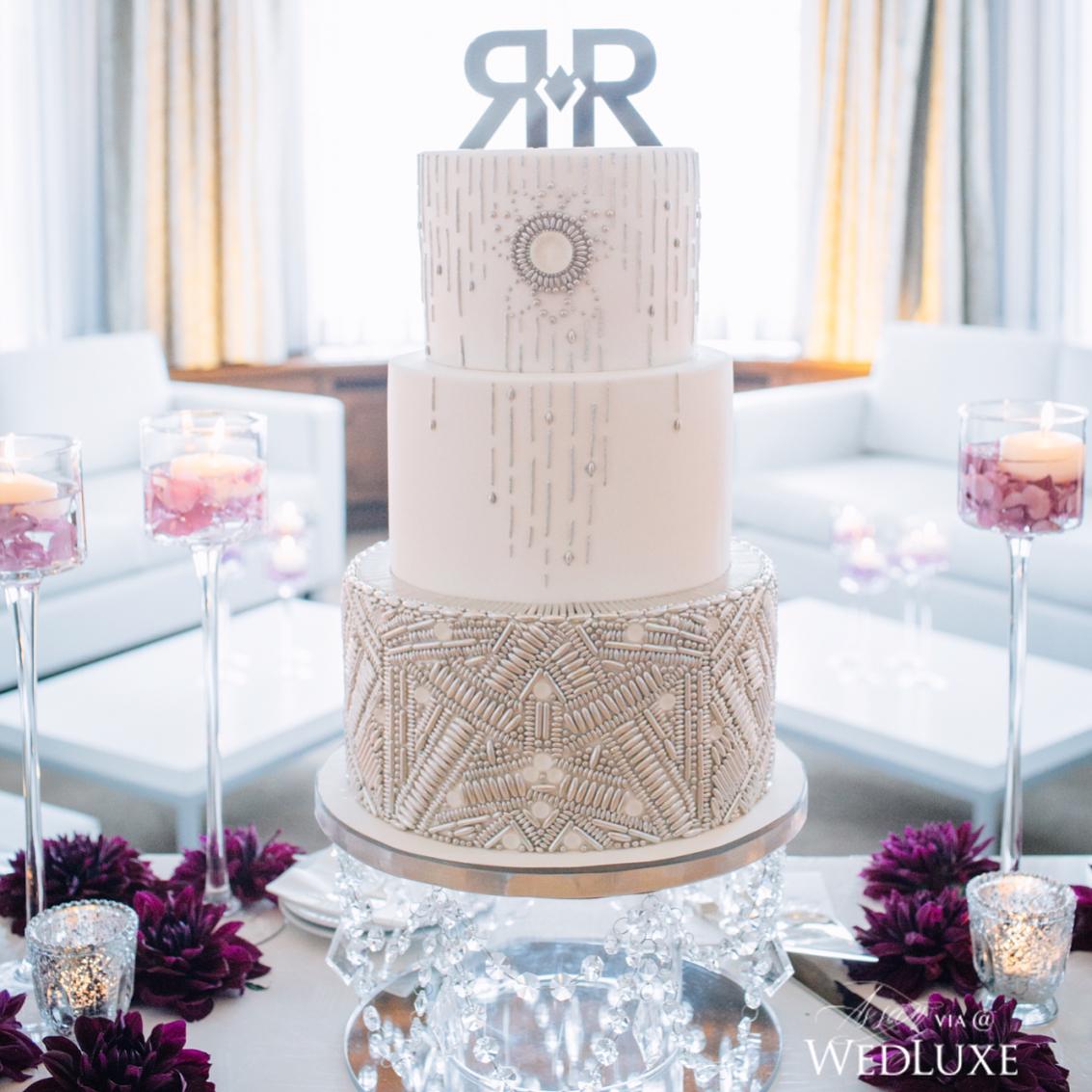 gorgeous white wedding cake design