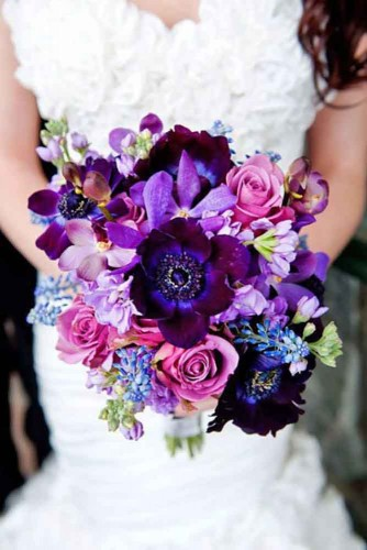 awesome purple wedding bouquet