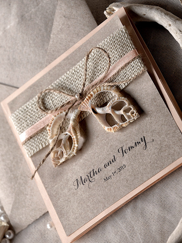 rustic wedding card with butterfly decor