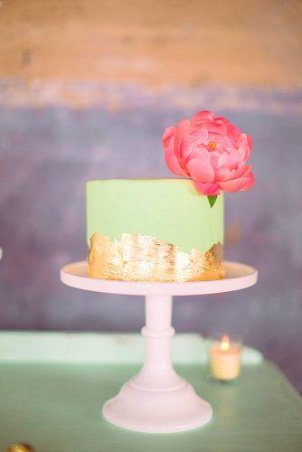 simple green mini wedding cake