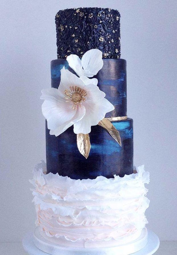 charming blue wedding cake