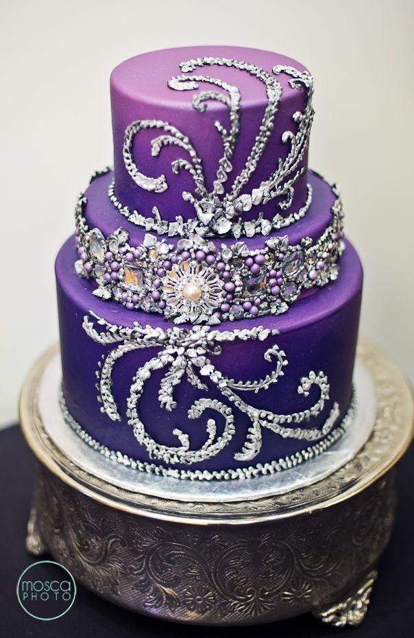 elegant purple cake wedding