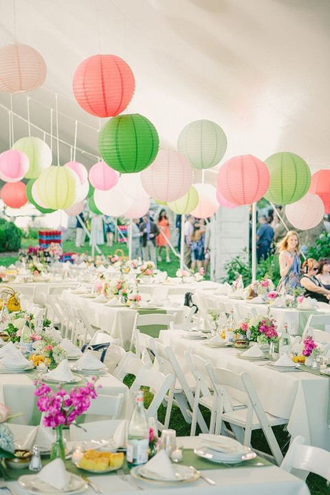 wedding tent with colorful lantern