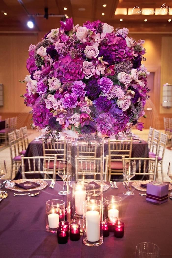 purple candle lit decor