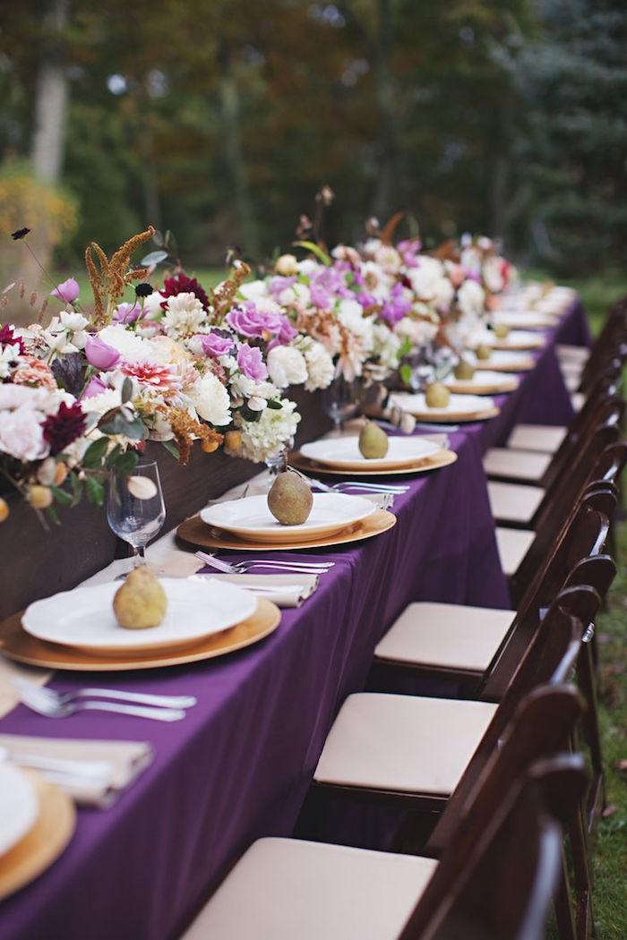 purple table set wedding