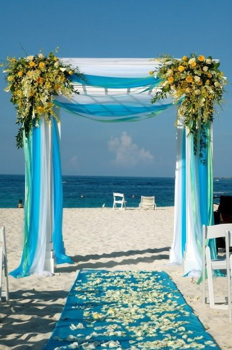 blue beach wedding aisle