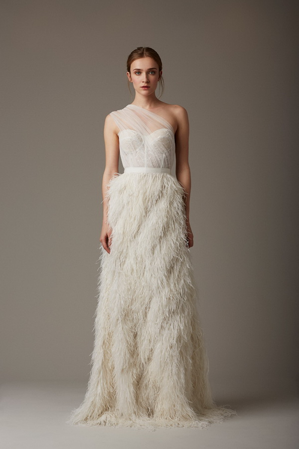 white beautiful feathers wedding dress