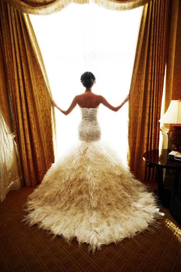 mermaid feathered wedding dress