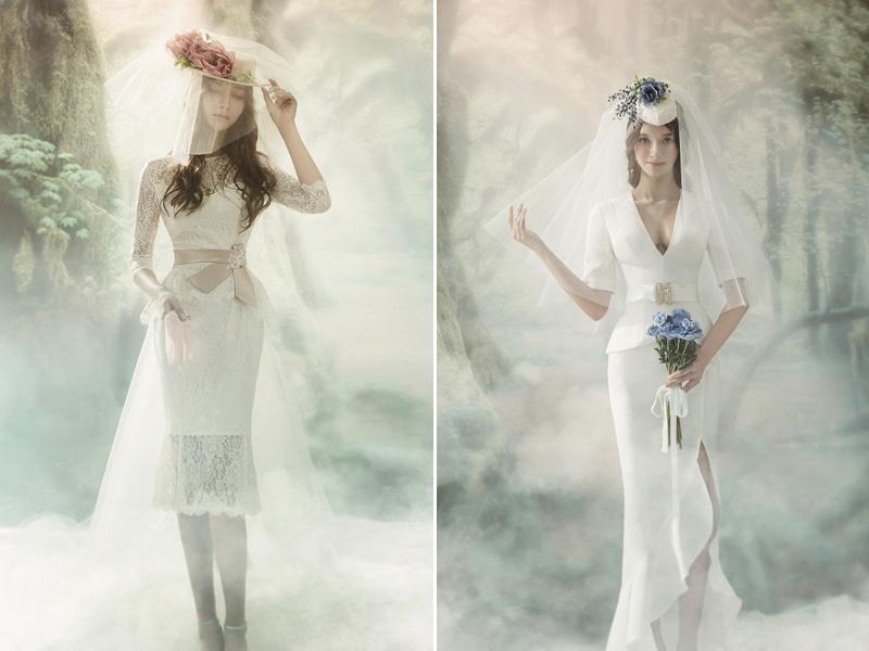 white trendy vintage wedding dress