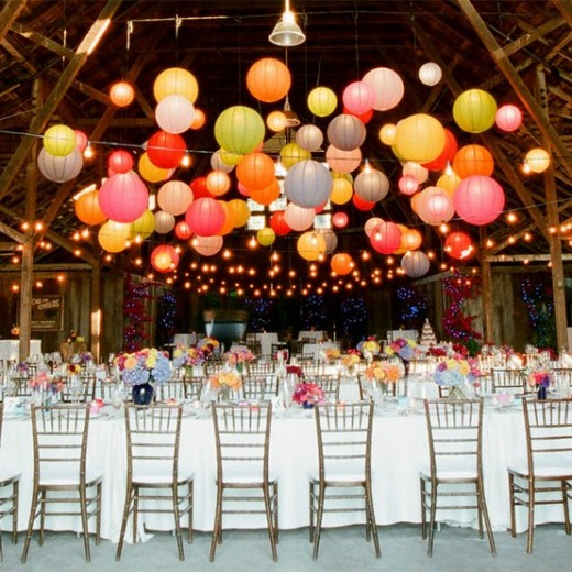beautiful wedding decor with lantern