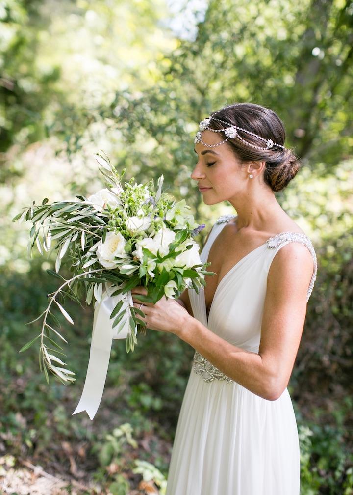 white beautiful wedding gown
