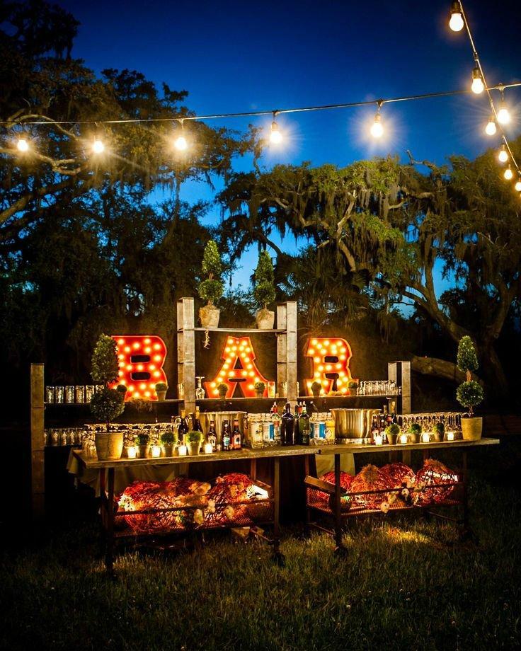 mini bar garden wedding