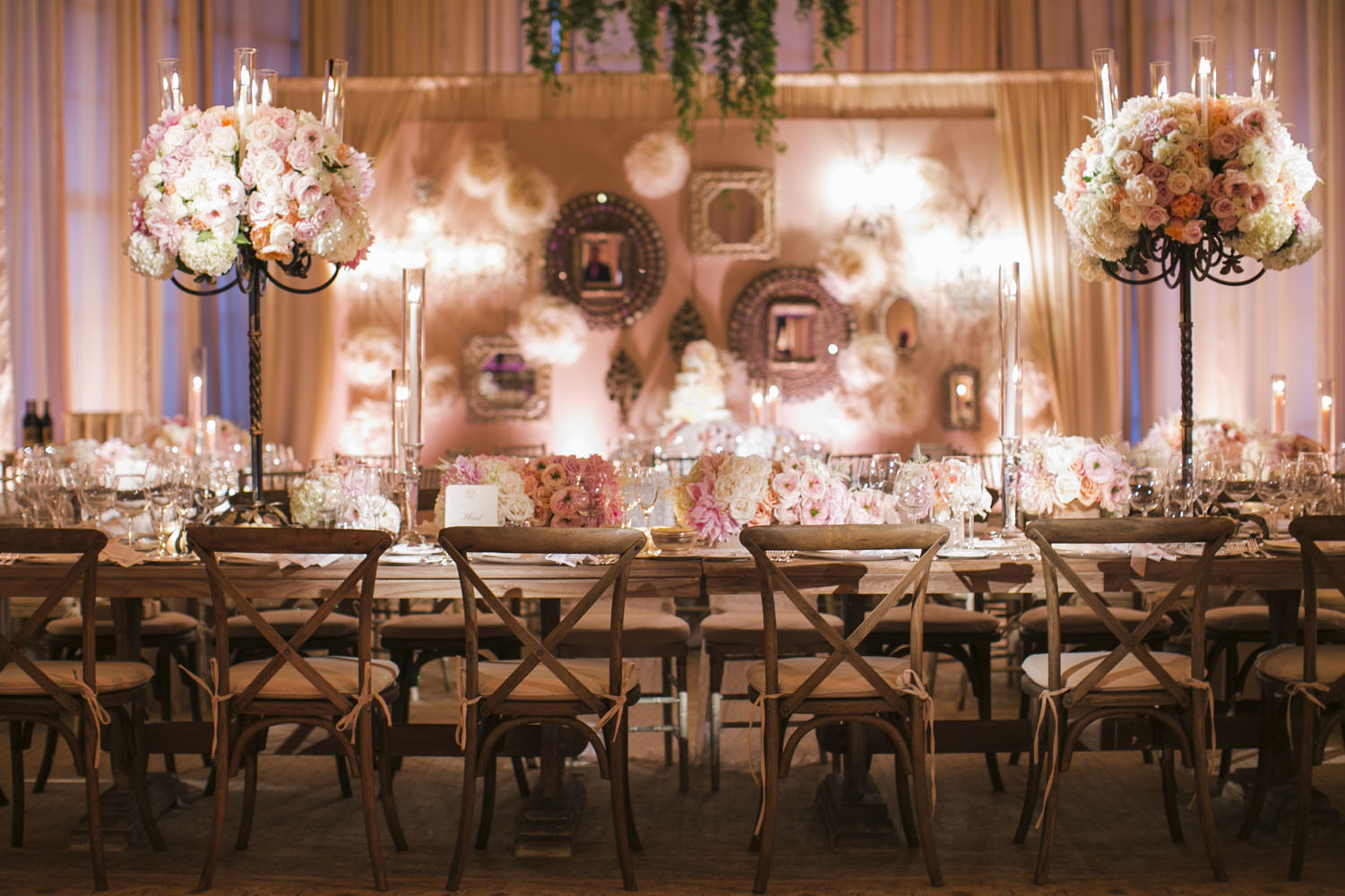 Vintage-Reception-Decor-With-Pink-and-Cream-Roses