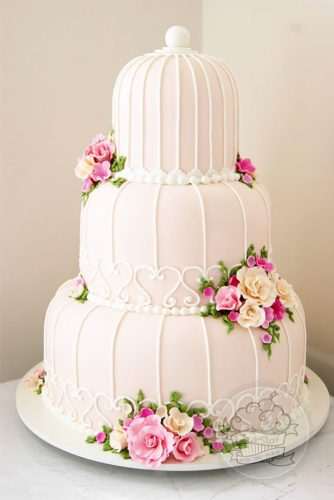 pinky birdcage wedding cake