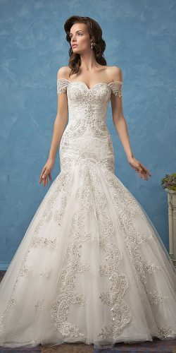 white beaded mermaid gown