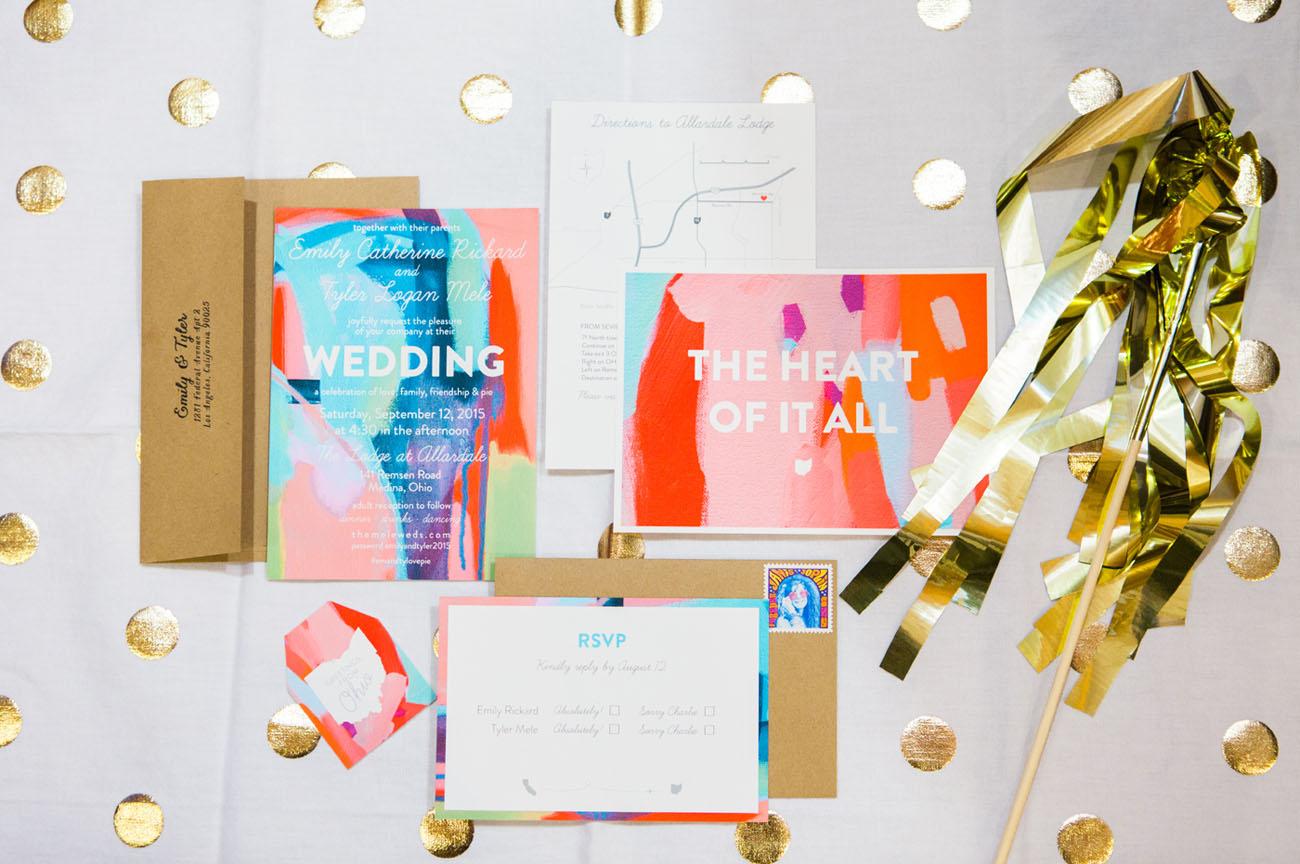 wedding invitation with colorful design