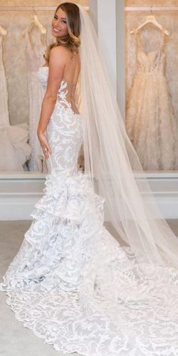 white long back mermaid gown