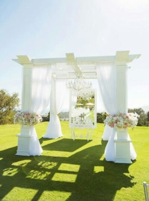 white beautiful wedding arch
