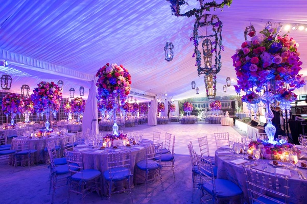 blue and purple wedding decor