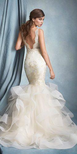 mermaid low back wedding dress