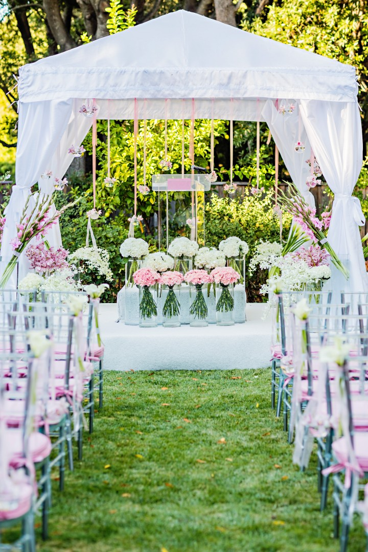 white and pink romantic wedding