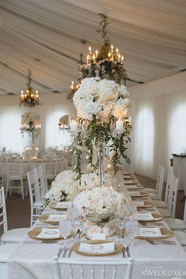 snowy white wedding decor