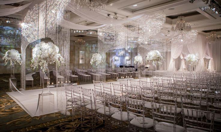 indoor white wedding decor