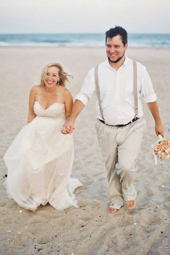simple white beach wedding attire