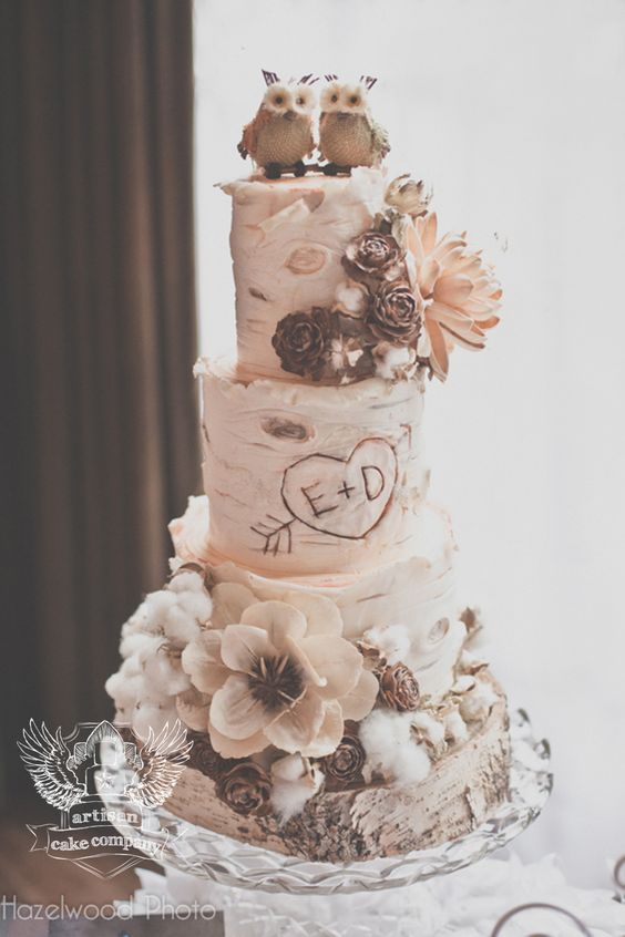rustic-birch-wedding-cake-with-little-owl-cake-topper
