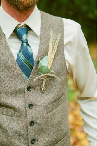 gray and blue tie wedding attire