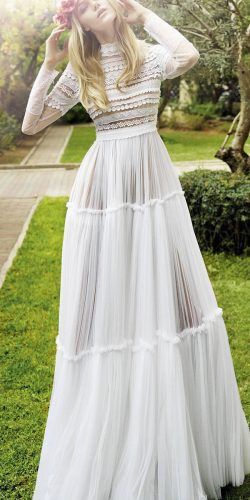 bohemian white wedding dress