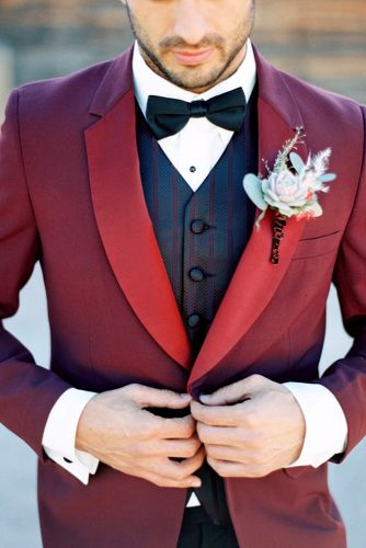 burgundy groom attire design