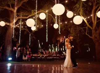 night summer wedding decoration