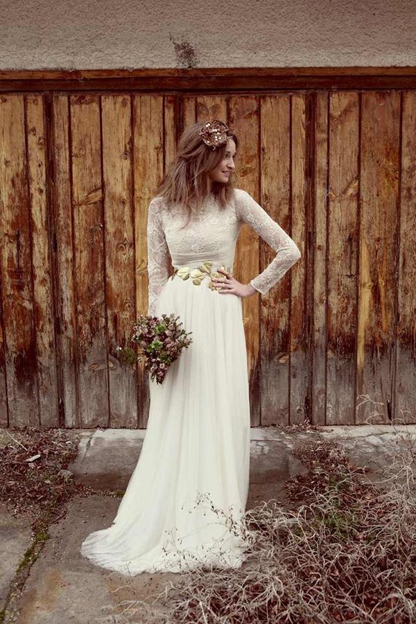 white elegant simple gown