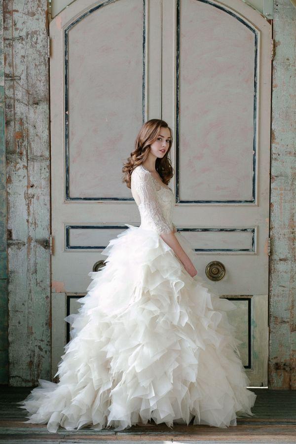 beautiful white ball wedding dress