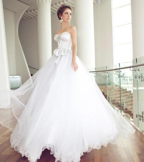 white glamor and elegant gown