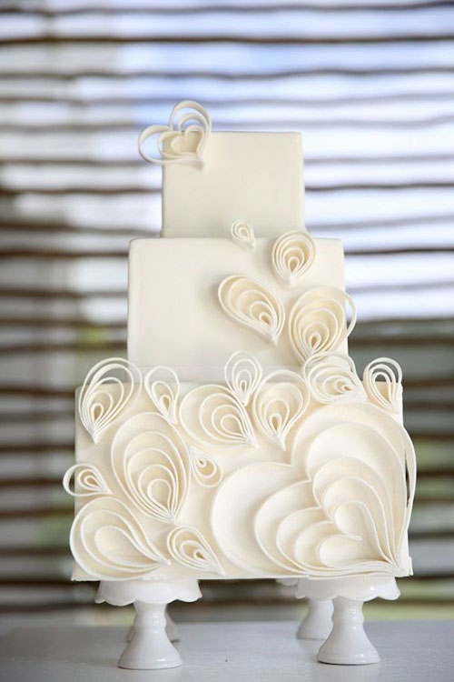 white chic wedding cake
