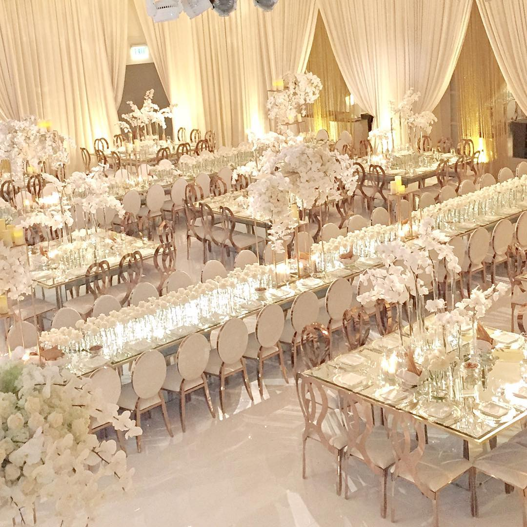 Elegant Wedding Reception Decoration: White Luxury Wedding Decor With Wonderful And Beautiful