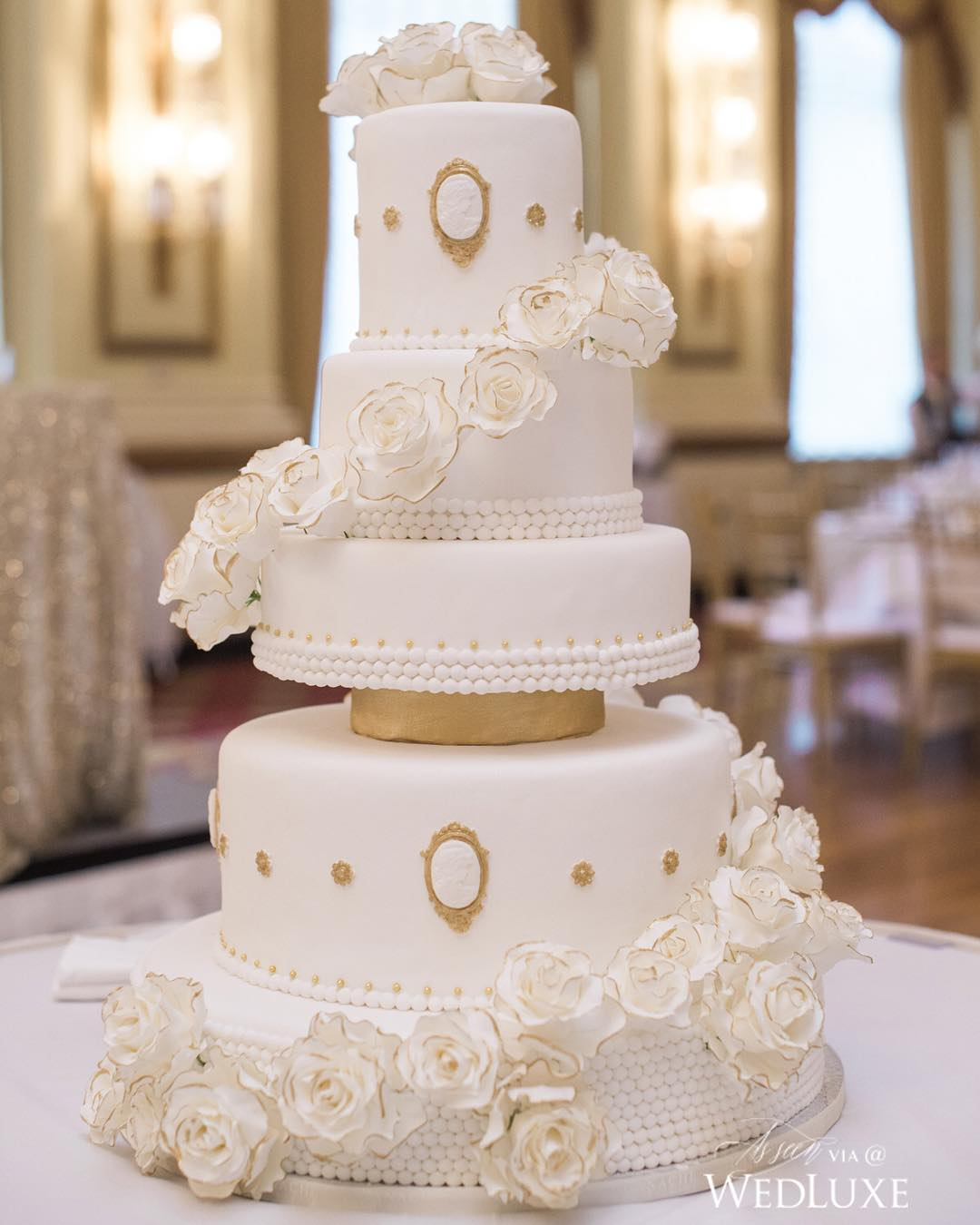 chic white wedding cake