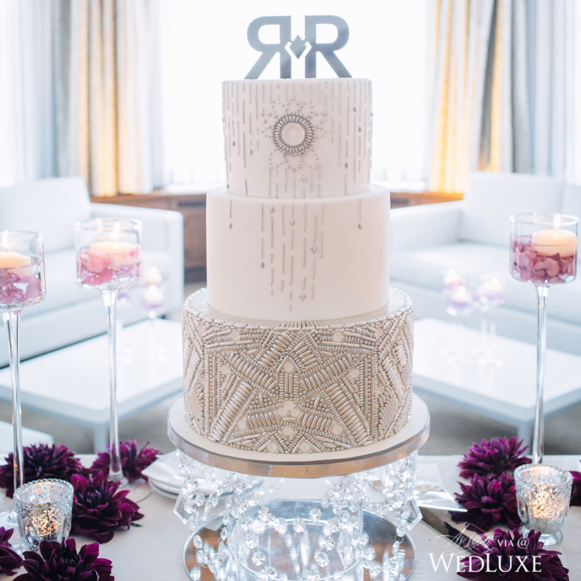 gorgeous white wedding cake design