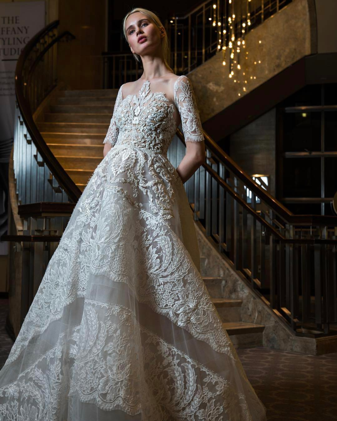 luxury white wedding dress