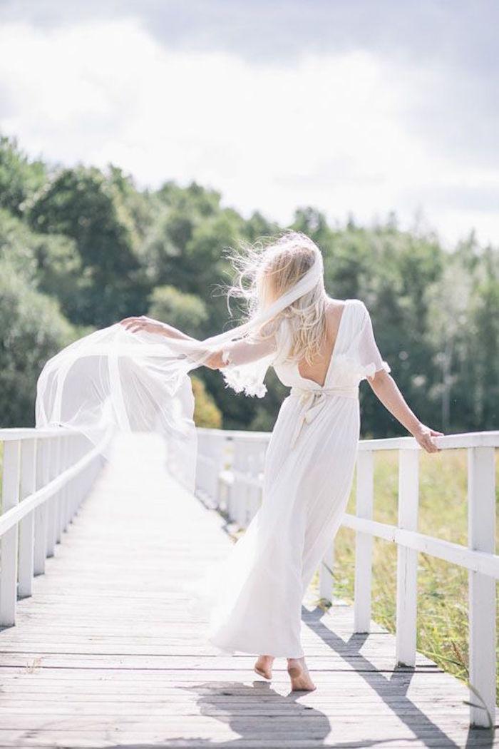 white gorgeous bohemian gown