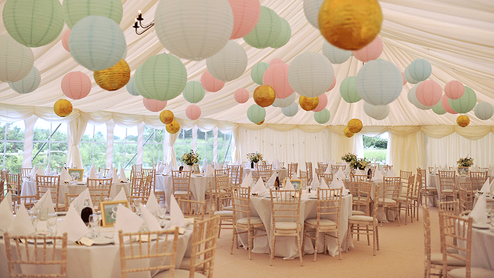 Pastel-and-gold-marquee-paper-lanterns