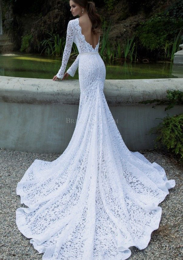 Vintage-Lace-Wedding-Dresses-Mermaid-Long-Sleeve-Backless