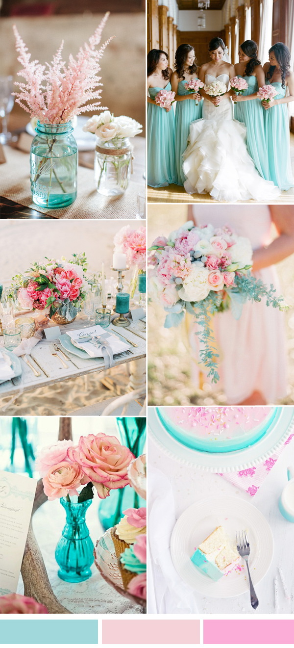 Beautiful Wedding Color Themes Which Apply With Aqua Color For