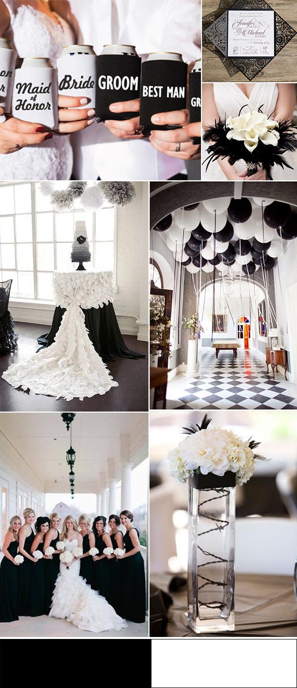 black-and-white-country-summer-wedding-ideas-with-can-cooler-favors