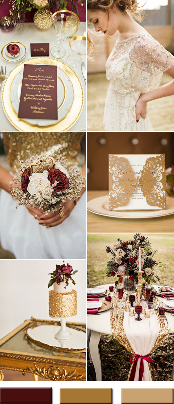 burgundy-wine-and-gold-wedding-color-combos-ideas